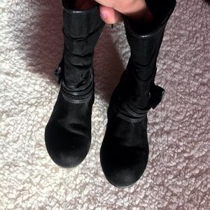 Girls boots, toddler sz 9, black/glitter with bow